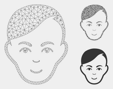 Mesh human head model with triangle mosaic icon. Wire carcass polygonal network of human head. Vector mosaic of triangle elements in variable sizes, and color shades. Abstract 2d mesh human head,