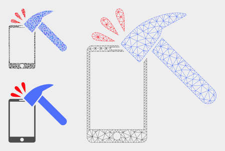 Mesh hammer break smartphone model with triangle mosaic icon. Wire carcass polygonal mesh of hammer break smartphone. Vector mosaic of triangle elements in various sizes, and color shades.