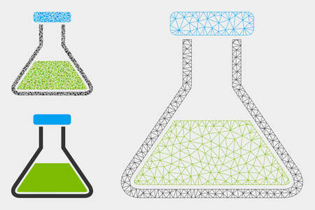 Mesh green wide flask model with triangle mosaic icon. Wire carcass triangular mesh of green wide flask. Vector mosaic of triangle parts in variable sizes, and color tinges.