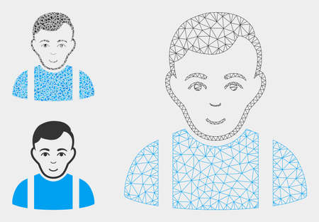 Mesh guy model with triangle mosaic icon. Wire frame polygonal mesh of guy. Vector mosaic of triangle parts in various sizes, and color shades. Abstract 2d mesh guy, built from triangles.