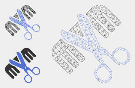 Mesh hairdressing tools model with triangle mosaic icon. Wire frame polygonal mesh of hairdressing tools. Vector collage of triangle elements in variable sizes, and color shades. Иллюстрация