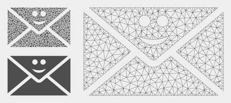 Mesh happy mail model with triangle mosaic icon. Wire frame polygonal network of happy mail. Vector mosaic of triangle parts in variable sizes, and color tints. Abstract flat mesh happy mail, Illustration