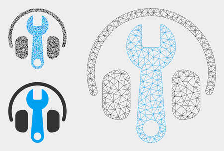 Mesh headphones tuning wrench model with triangle mosaic icon. Wire carcass polygonal mesh of headphones tuning wrench. Vector mosaic of triangle elements in different sizes, and color tones. Illustration