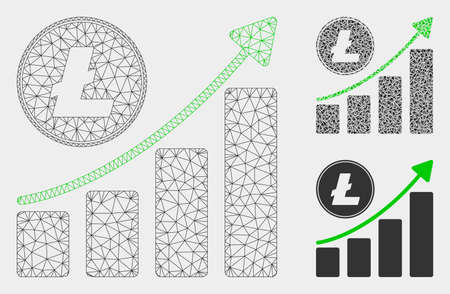 Mesh Litecoin growing chart trend model with triangle mosaic icon. Wire frame polygonal mesh of Litecoin growing chart trend. Vector composition of triangle parts in various sizes, and color tints. Vectores