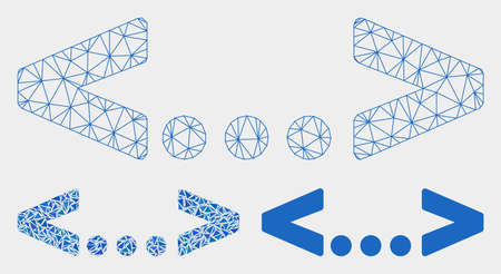 Mesh inline code model with triangle mosaic icon. Wire carcass polygonal mesh of inline code. Vector mosaic of triangle elements in variable sizes, and color shades. Abstract 2d mesh inline code,