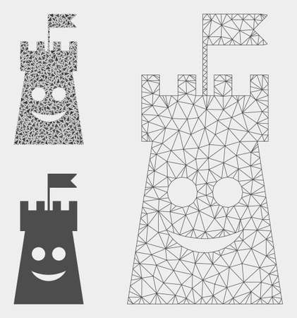 Mesh happy bulwark tower model with triangle mosaic icon. Wire carcass polygonal mesh of happy bulwark tower. Vector mosaic of triangles in different sizes, and color tones.