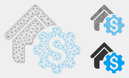 Mesh house rent options model with triangle mosaic icon. Wire carcass polygonal mesh of house rent options. Vector collage of triangle parts in various sizes, and color tints. Illustration