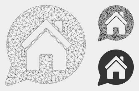 Mesh house mention model with triangle mosaic icon. Wire carcass polygonal mesh of house mention. Vector mosaic of triangle elements in various sizes, and color shades.