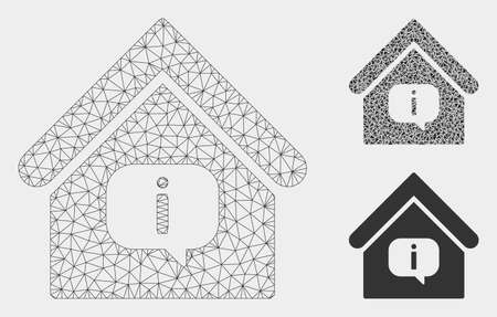 Mesh hint building model with triangle mosaic icon. Wire carcass triangular mesh of hint building. Vector mosaic of triangle parts in various sizes, and color tinges. Abstract flat mesh hint building,