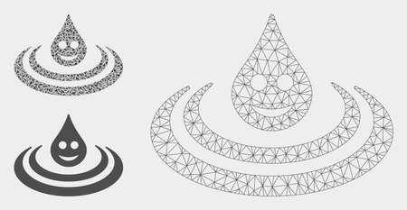 Mesh happy drop Ripple model with triangle mosaic icon. Wire carcass polygonal mesh of happy drop Ripple. Vector composition of triangle parts in variable sizes, and color shades.