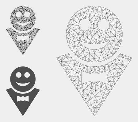 Mesh happy waiter model with triangle mosaic icon. Wire carcass triangular mesh of happy waiter. Vector mosaic of triangle elements in variable sizes, and color hues. Abstract flat mesh happy waiter,