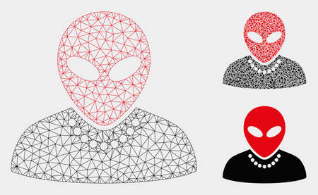 Mesh humanoid model with triangle mosaic icon. Wire frame triangular mesh of humanoid. Vector composition of triangle parts in variable sizes, and color tones. Abstract flat mesh humanoid,