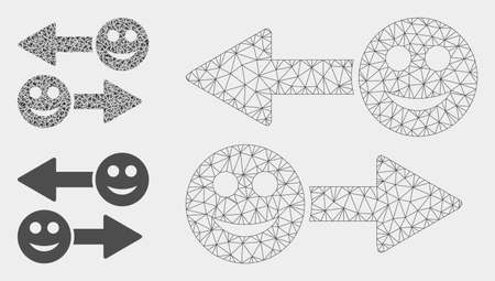 Mesh happy emotion exchange arrows model with triangle mosaic icon. Wire carcass triangular mesh of happy emotion exchange arrows. Vector mosaic of triangle elements in variable sizes, and color hues.