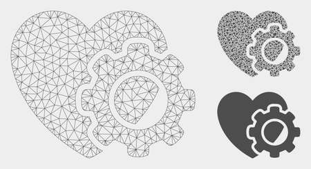 Mesh heart gear model with triangle mosaic icon. Wire carcass triangular mesh of heart gear. Vector mosaic of triangle elements in variable sizes, and color shades. Abstract flat mesh heart gear,