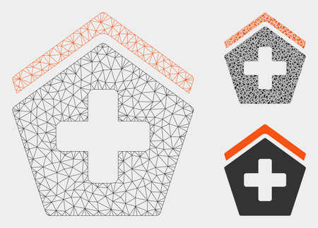 Mesh hospital model with triangle mosaic icon. Wire frame triangular mesh of hospital. Vector mosaic of triangle parts in various sizes, and color shades. Abstract flat mesh hospital,