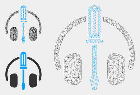 Mesh headphones tuning screwdriver model with triangle mosaic icon. Wire carcass polygonal mesh of headphones tuning screwdriver. Vector composition of triangle parts in variable sizes, Illustration
