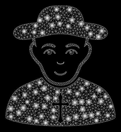 Bright mesh Christian priest with glitter effect. Abstract illuminated model of Christian priest icon. Shiny wire carcass polygonal mesh Christian priest. Vector abstraction on a black background.