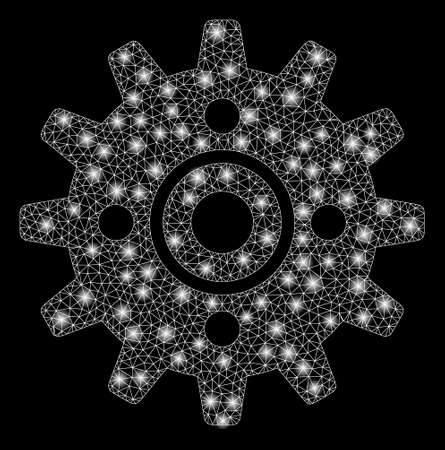Glossy mesh cogwheel with sparkle effect. Abstract illuminated model of cogwheel icon. Shiny wire frame triangular mesh cogwheel. Vector abstraction on a black background.