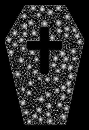 Bright mesh coffin with glare effect. Abstract illuminated model of coffin icon. Shiny wire frame triangular mesh coffin. Vector abstraction on a black background. Ilustracja