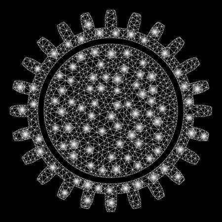 Glowing mesh cogwheel with glitter effect. Abstract illuminated model of cogwheel icon. Shiny wire frame triangular network cogwheel. Vector abstraction on a black background. Illustration