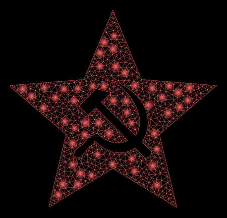 Flare mesh communism star with glow effect. Abstract illuminated model of communism star icon. Shiny wire carcass triangular mesh communism star. Vector abstraction on a black background.