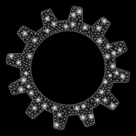 Bright mesh cogwheel with lightspot effect. Abstract illuminated model of cogwheel icon. Shiny wire carcass triangular mesh cogwheel. Vector abstraction on a black background.