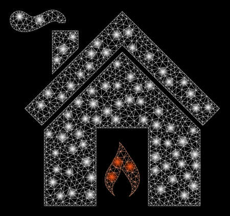 Glossy mesh kitchen fire with glow effect. Abstract illuminated model of kitchen fire icon. Shiny wire frame triangular mesh kitchen fire. Vector abstraction on a black background.