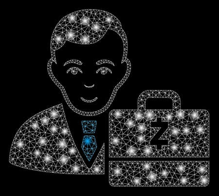 Glowing mesh Zcash accounter with sparkle effect. Abstract illuminated model of Zcash accounter icon. Shiny wire frame polygonal mesh Zcash accounter. Vector abstraction on a black background. Ilustracja