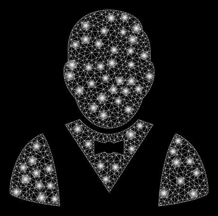 Glossy mesh waiter with glow effect. Abstract illuminated model of waiter icon. Shiny wire carcass triangular mesh waiter. Vector abstraction on a black background.