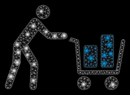 Flare mesh client with shopping cart with glow effect. Abstract illuminated model of client with shopping cart icon. Shiny wire carcass polygonal network client with shopping cart.