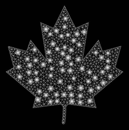 Glossy mesh maple leaf with glow effect. Abstract illuminated model of maple leaf icon. Shiny wire frame triangular mesh maple leaf. Vector abstraction on a black background. Ilustracje wektorowe