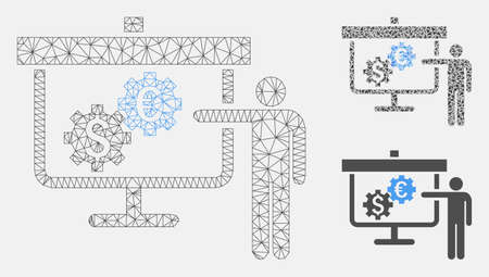 Mesh international banking project model with triangle mosaic icon. Wire carcass polygonal network of international banking project. Vector mosaic of triangle elements in different sizes,