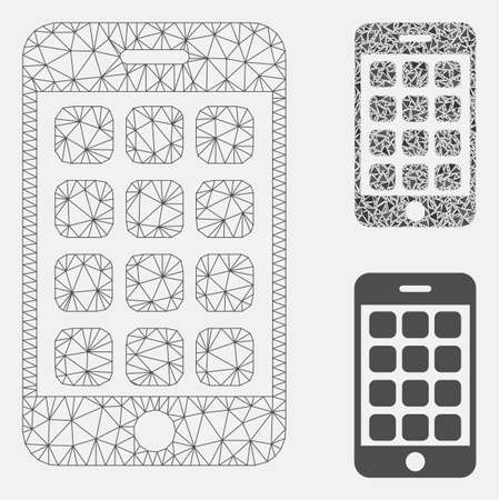 Mesh mobile apps model with triangle mosaic icon. Wire frame polygonal mesh of mobile apps. Vector collage of triangle elements in different sizes, and color shades. Abstract flat mesh mobile apps,