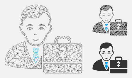Mesh Zcash accounter model with triangle mosaic icon. Wire carcass polygonal network of Zcash accounter. Vector mosaic of triangle parts in variable sizes, and color shades. Illustration