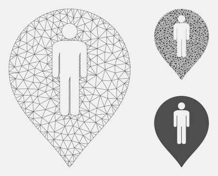 Mesh man toilet marker model with triangle mosaic icon. Wire frame triangular mesh of man toilet marker. Vector mosaic of triangle elements in various sizes, and color hues.