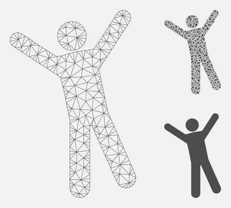 Mesh man joy model with triangle mosaic icon. Wire frame polygonal mesh of man joy. Vector mosaic of triangles in variable sizes, and color hues. Abstract 2d mesh man joy, built from polygonal grid.