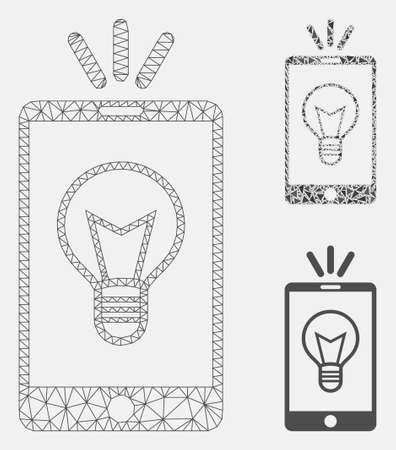 Mesh mobile lamp light model with triangle mosaic icon. Wire carcass triangular mesh of mobile lamp light. Vector mosaic of triangle elements in various sizes, and color shades.