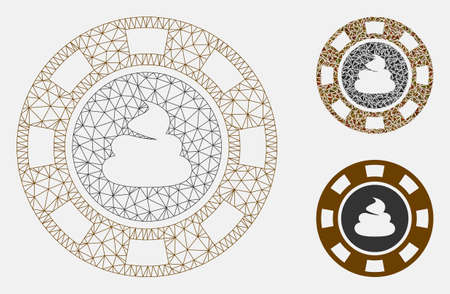 Mesh shit casino chip model with triangle mosaic icon. Wire frame polygonal mesh of shit casino chip. Vector collage of triangle parts in variable sizes, and color tints. Ilustração