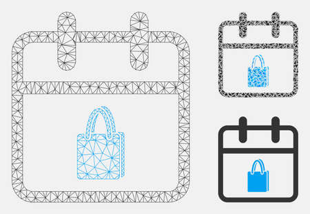 Mesh shopping day model with triangle mosaic icon. Wire carcass polygonal mesh of shopping day. Vector mosaic of triangles in different sizes, and color tones. Abstract flat mesh shopping day, Stock Illustratie