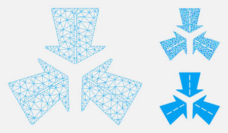Mesh merge directions model with triangle mosaic icon. Wire frame polygonal network of merge directions. Vector mosaic of triangle parts in different sizes, and color hues.