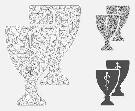 Mesh medical award cups model with triangle mosaic icon. Wire frame triangular mesh of medical award cups. Vector mosaic of triangle parts in various sizes, and color tints.