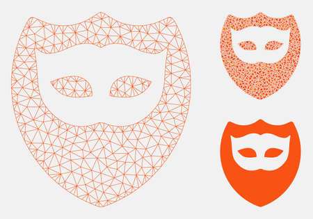 Mesh mask shield model with triangle mosaic icon. Wire carcass polygonal network of mask shield. Vector mosaic of triangle elements in various sizes, and color tones. Abstract flat mesh mask shield,