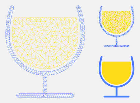 Mesh wine glass model with triangle mosaic icon. Wire carcass triangular mesh of wine glass. Vector collage of triangle elements in variable sizes, and color hues. Abstract 2d mesh wine glass,