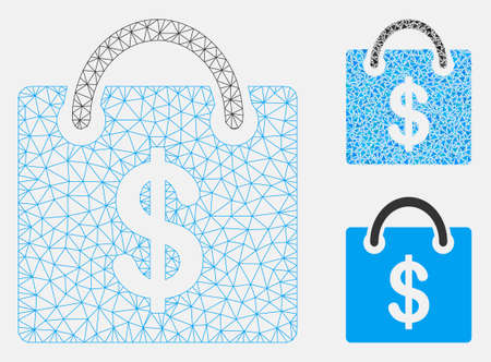 Mesh shopping bag model with triangle mosaic icon. Wire carcass polygonal mesh of shopping bag. Vector collage of triangle elements in different sizes, and color tones. Abstract 2d mesh shopping bag,