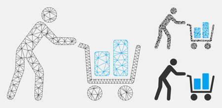 Mesh client with shopping cart model with triangle mosaic icon. Wire carcass polygonal mesh of client with shopping cart. Vector mosaic of triangle elements in various sizes, and color tints.