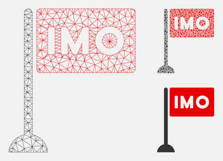 Mesh IMO flag model with triangle mosaic icon. Wire frame triangular mesh of IMO flag. Vector mosaic of triangles in various sizes, and color tinges. Abstract 2d mesh IMO flag,