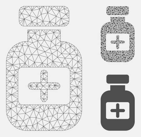 Mesh medication phial model with triangle mosaic icon. Wire carcass polygonal mesh of medication phial. Vector mosaic of triangle elements in variable sizes, and color tones.