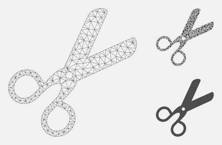 Mesh scissors model with triangle mosaic icon. Wire carcass polygonal mesh of scissors. Vector mosaic of triangle parts in various sizes, and color tints. Abstract flat mesh scissors,