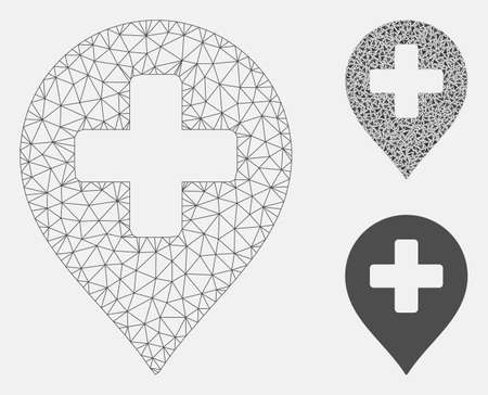 Mesh medical cross marker model with triangle mosaic icon. Wire carcass polygonal mesh of medical cross marker. Vector mosaic of triangle elements in variable sizes, and color shades. Vector Illustratie
