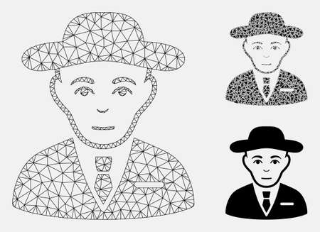 Mesh secret service agent model with triangle mosaic icon. Wire carcass triangular mesh of secret service agent. Vector composition of triangle parts in various sizes, and color tints. Ilustração